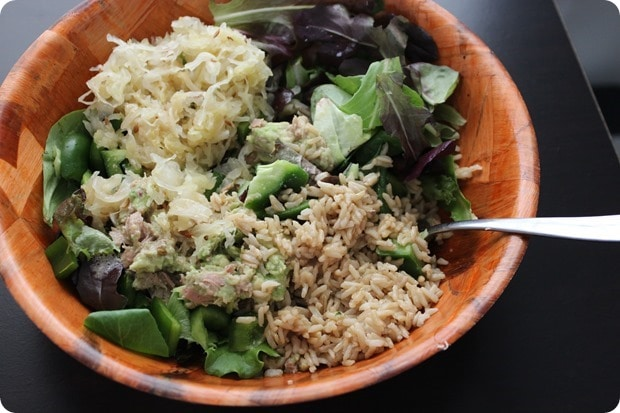 easy tuna sauerkraut salad bowl