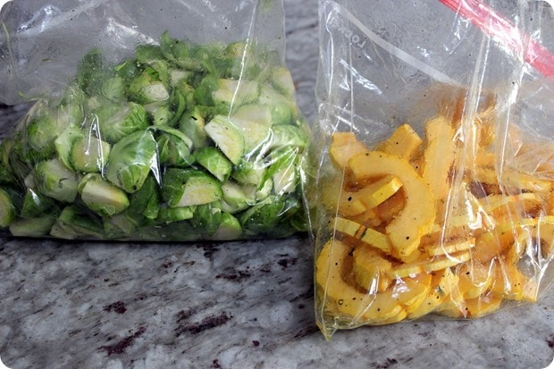prepped brussels sprouts and squash