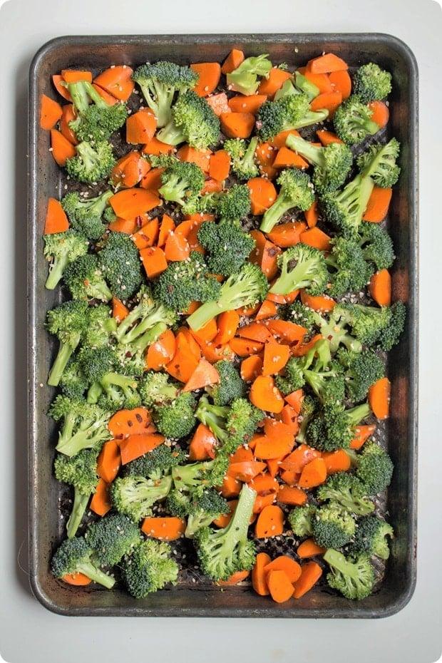 tilapia with peanut sauce step 1 roasted vegetables