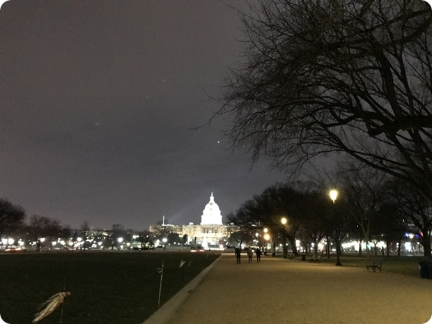 running the national mall at night