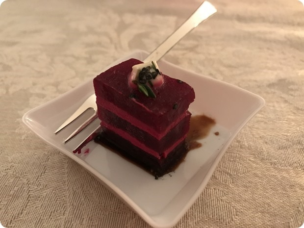 beets sandwiched with goat cheese