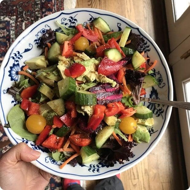 homemade healthy veggie salad