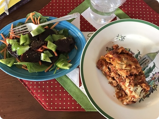 leftover lasagna and salad
