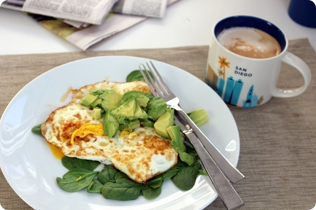 fried eggs with avocado spinach