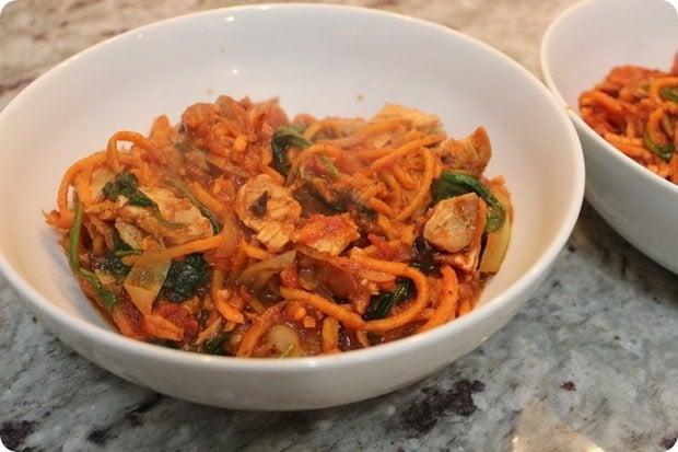 sweet potato spirals tomato pasta