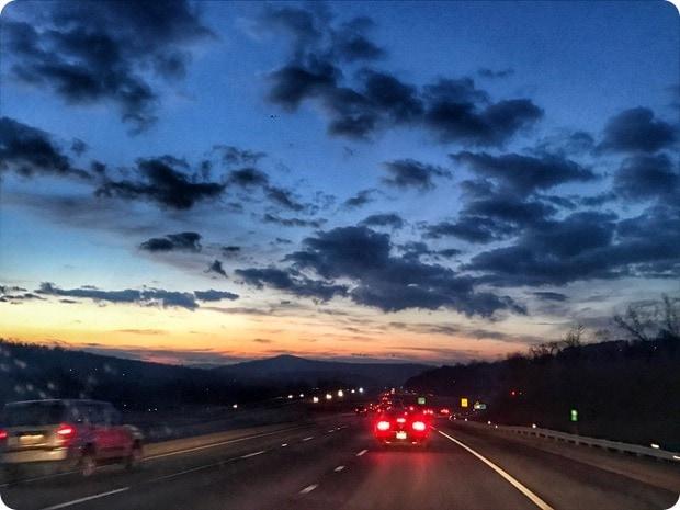 sunset driving to shenandoah