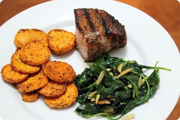 grilled pork with sweet potatoes and spinach