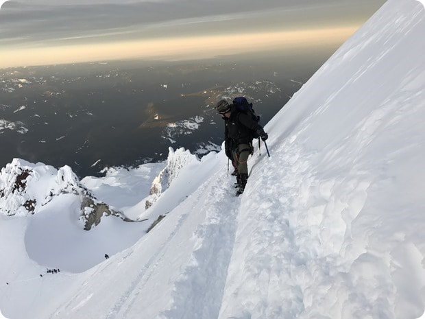climbing mt hood in winter 2
