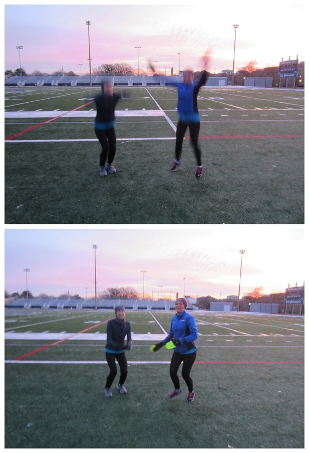 jumping photo sunrise track workout
