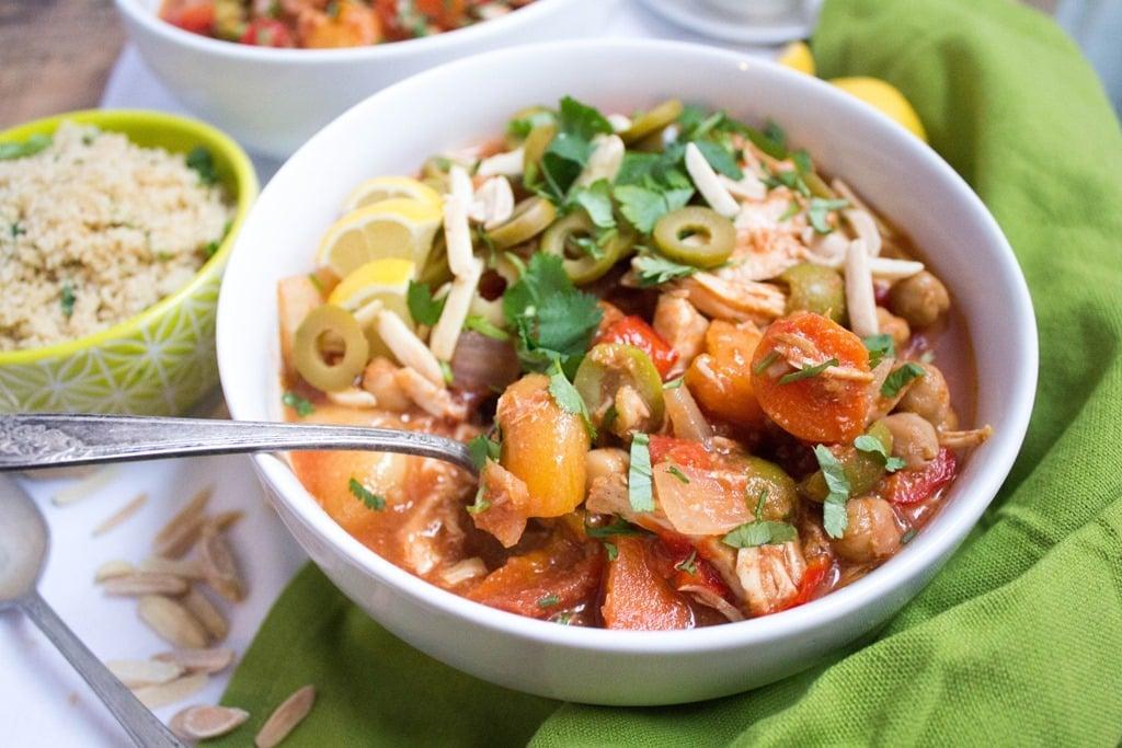 crockpot Moroccan chicken stew in a bowl