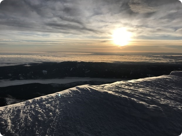 sunrise on top of mt hood summit