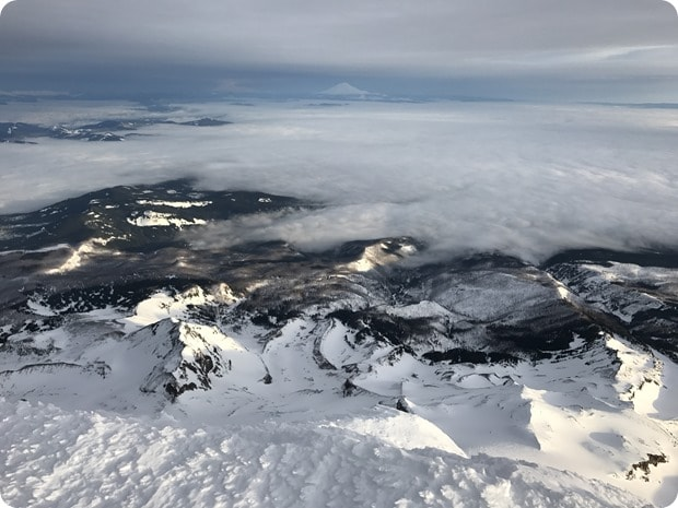 view from top of mt hood winter