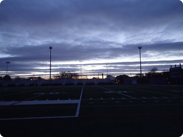 morning track sunrise winter