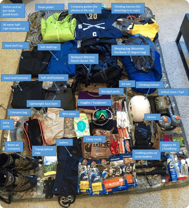 gear needed to summit mt rainier
