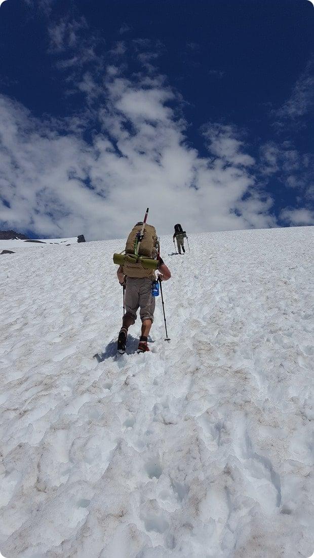 mt rainier muir snowfields steep climbing