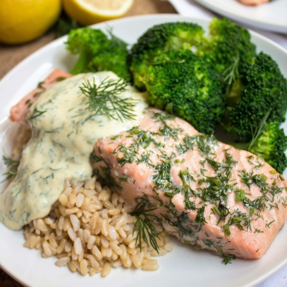 baked salmon with lemon mustard dill sauce, brown rice, and broccoli