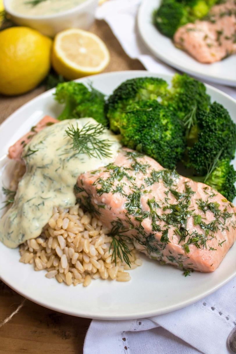 baked salmon with lemon mustard dill sauce, brown rice, and broccoli
