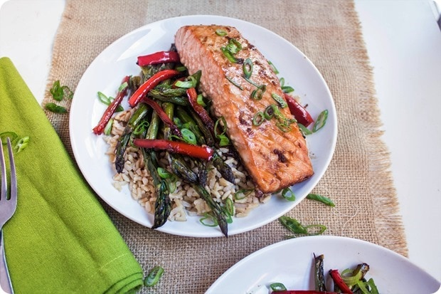 sheet pan ginger soy salmon 2