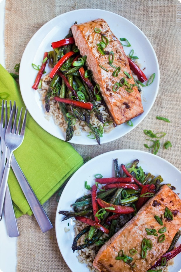 sheet pan salmon and veggies with ginger soy glaze recipe