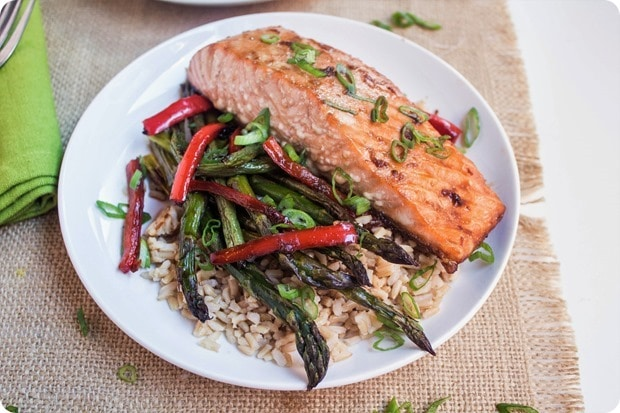 sheet pan ginger soy salmon