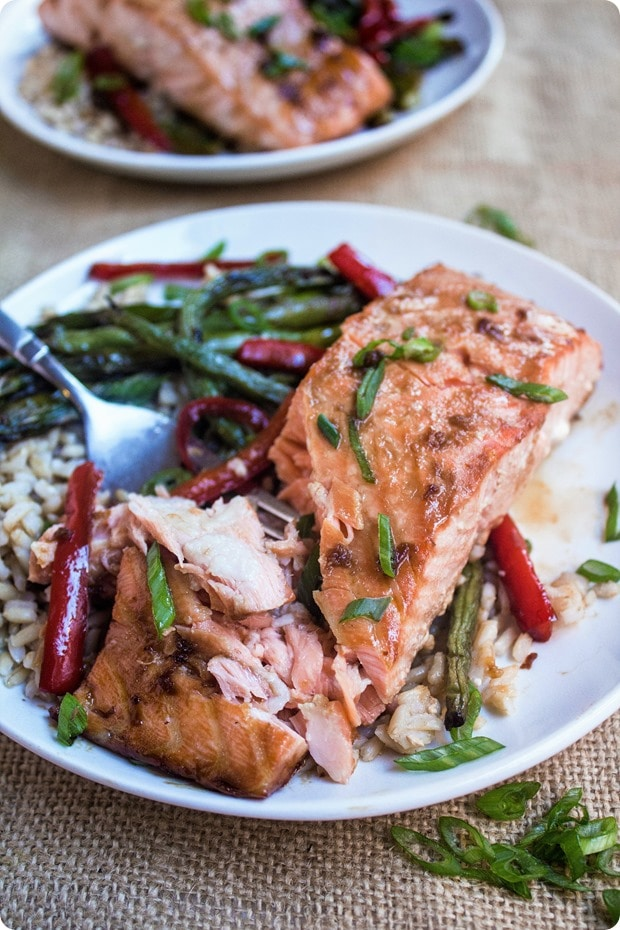 sheet pan ginger soy salmon 7