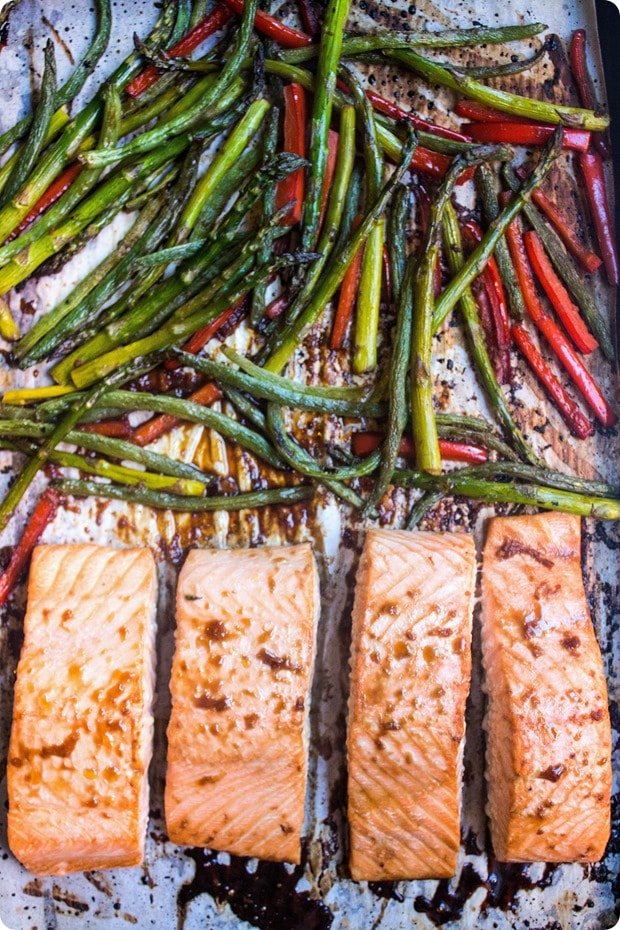 how to make sheet pan salmon and veggies with ginger soy glaze