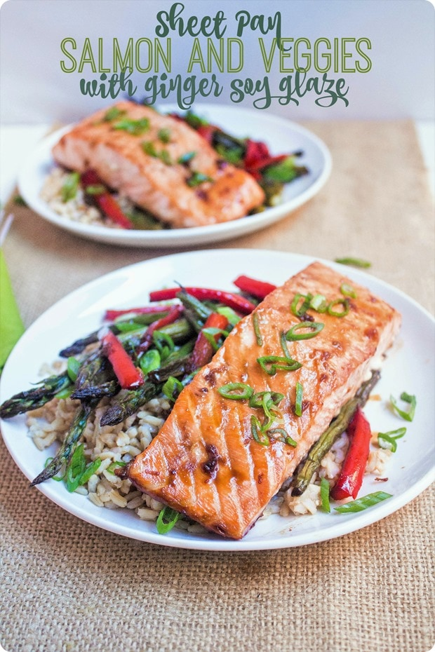 sheet pan salmon and veggies with ginger soy glaze