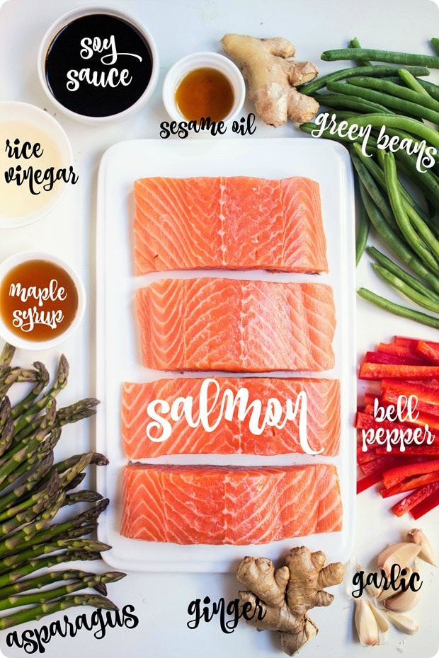 sheet pan soy ginger salmon ingredients
