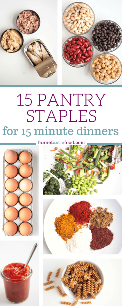A pantry staples list with canned fish, canned beans, spices, frozen vegetables, pasta, and sauces