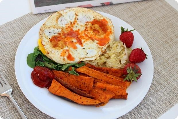 breakfast eggs sweet potato sauerkraut