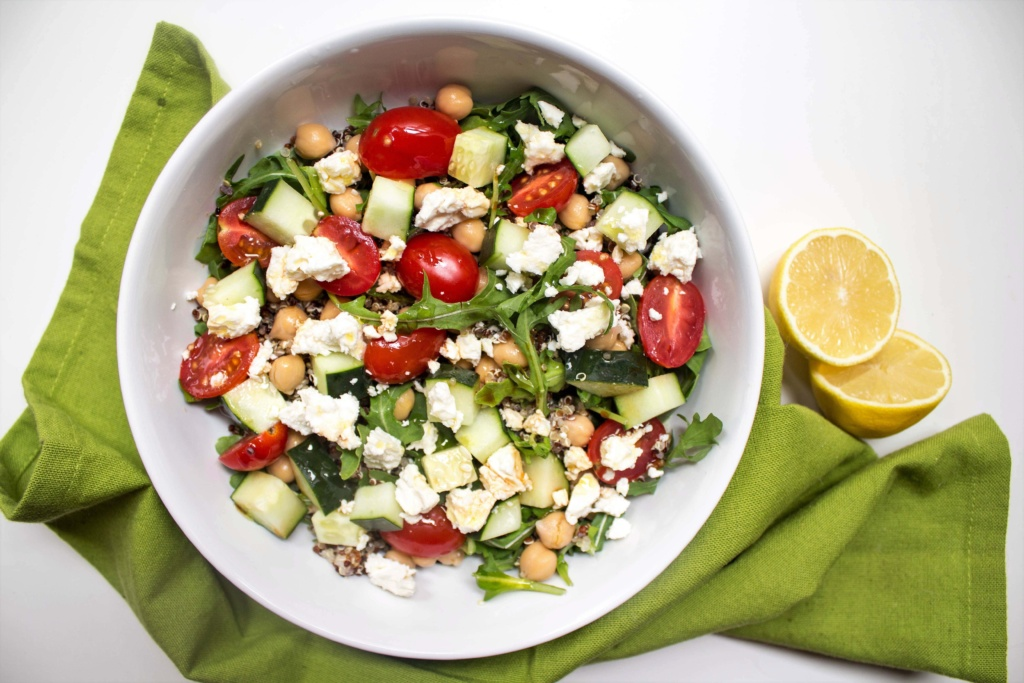 Mediterranean grain salad bowl
