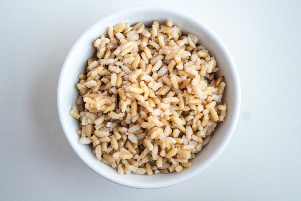 cooked brown rice in a bowl