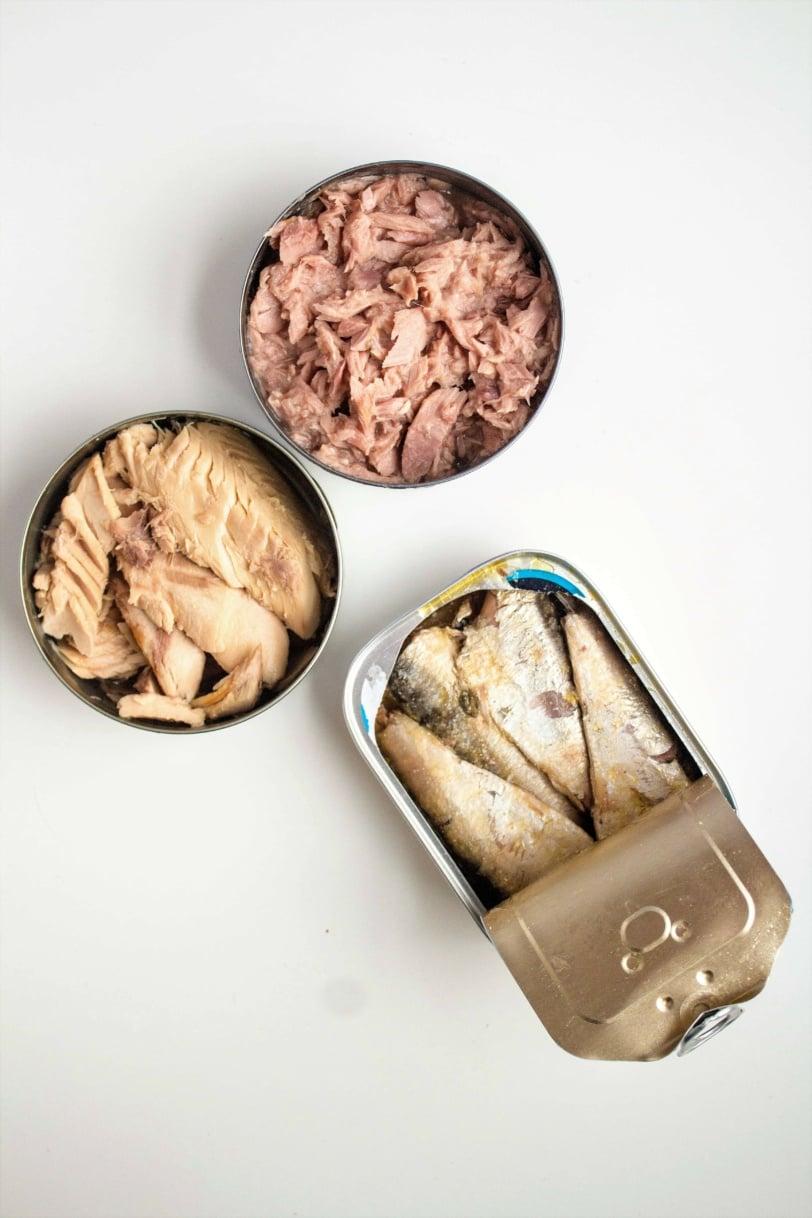 Canned fish pantry staples: tuna, salmon, and sardines