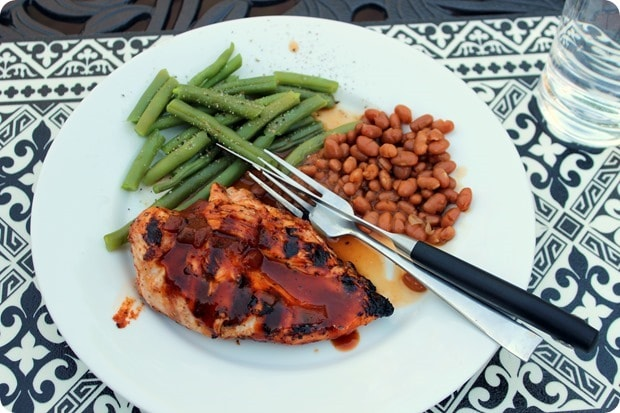 bbq chicken with baked beans