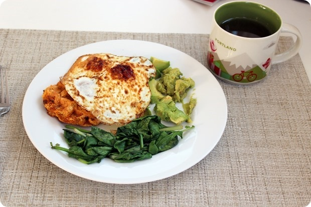 savory waffle with fried eggs healthy