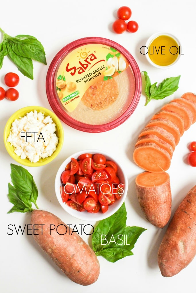 mediterranean sweet potato and hummus bites ingredients