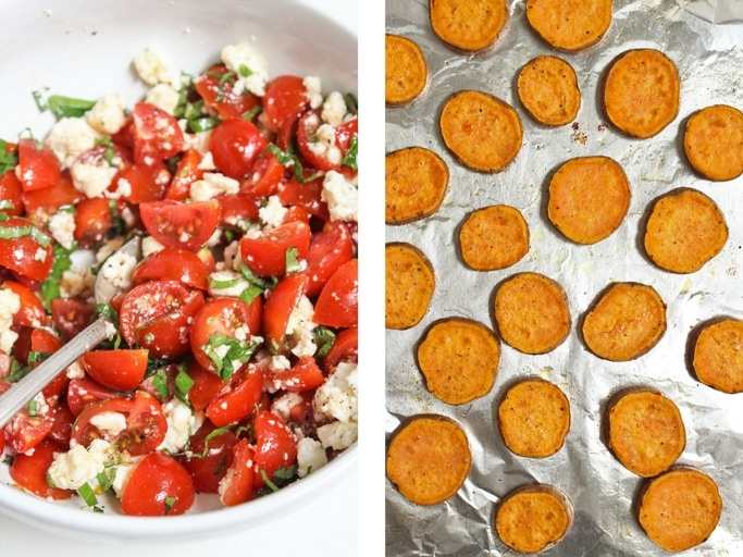 how to make mediterranean sweet potato and hummus bites