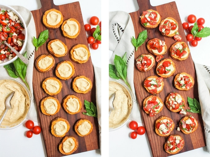 spreading hummus on appetizer bites