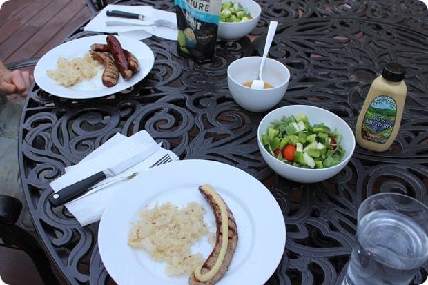sausages and sauerkraut with salad