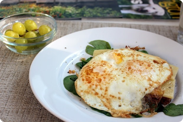 fried eggs toast cheese spinach