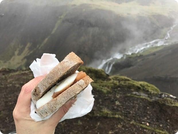 hiking lunch smoked salmon egg sandwich