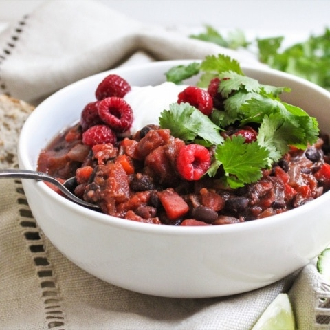Raspberry Chipotle Black Bean Chili