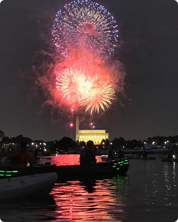 dc fireworks by kayak