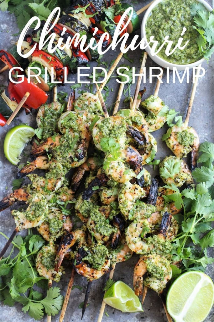 healthy labor day recipes - chimichurri grilled shrimp