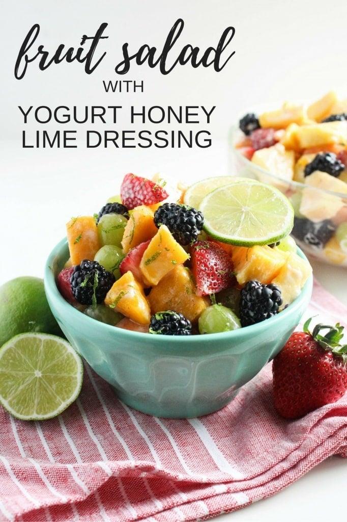 healthy labor day recipes - fruit salad with yogurt honey lime dressing