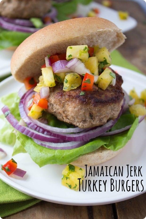 healthy labor day recipes - jamaican jerk turkey burgers