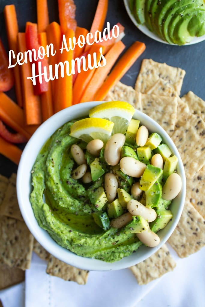 healthy labor day recipes - lemon avocado hummus