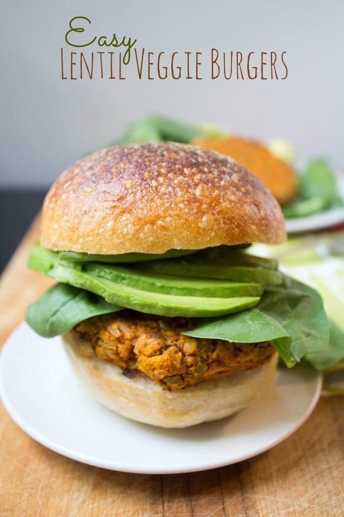 healthy labor day recipes - lentil veggie burgers