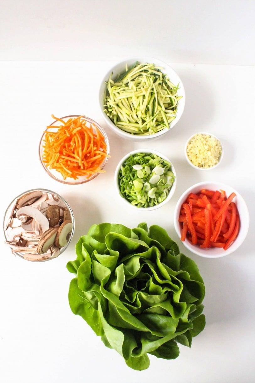 Healthy Lettuce Wrap Recipes ingredients - veggies