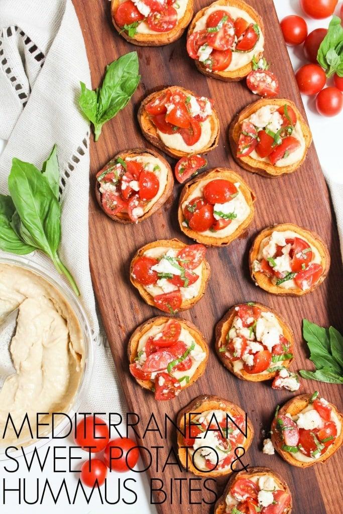 healthy labor day recipes - mediterranean sweet potato hummus bites